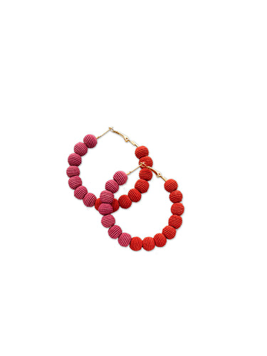 Red & Orchid Woven Ball Hoop Earrings