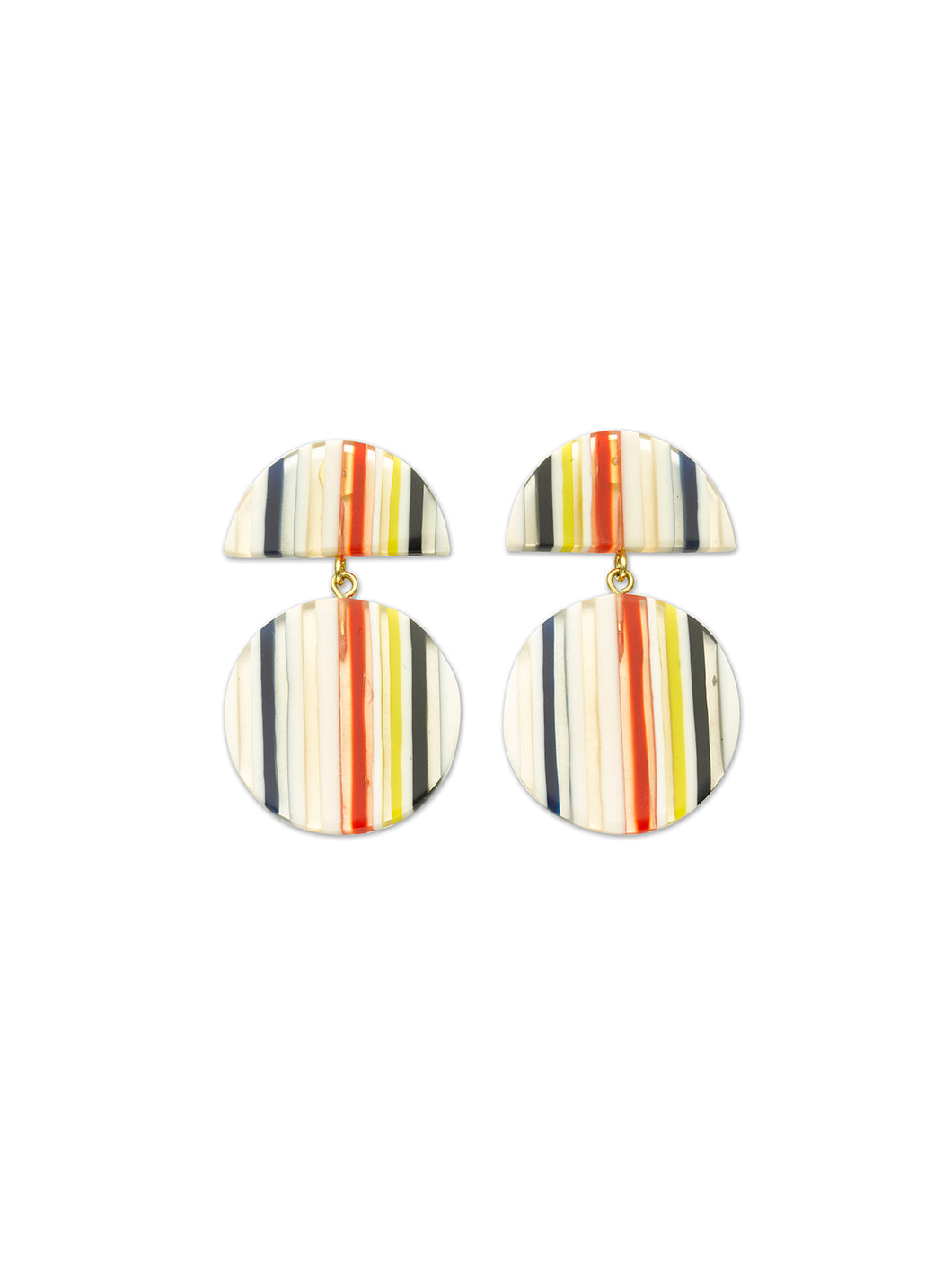 Resin Stripe Circle Drop Earrings