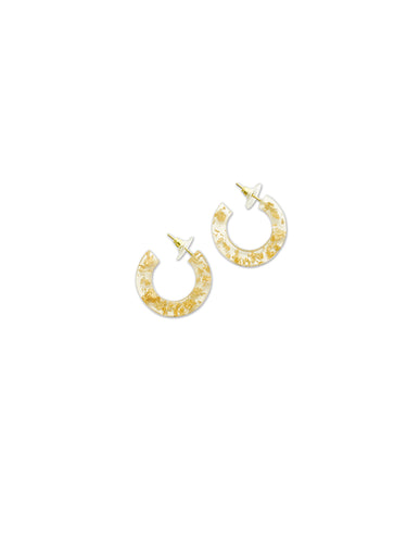 Small Gold Leaf & Resin Hoop Earrings
