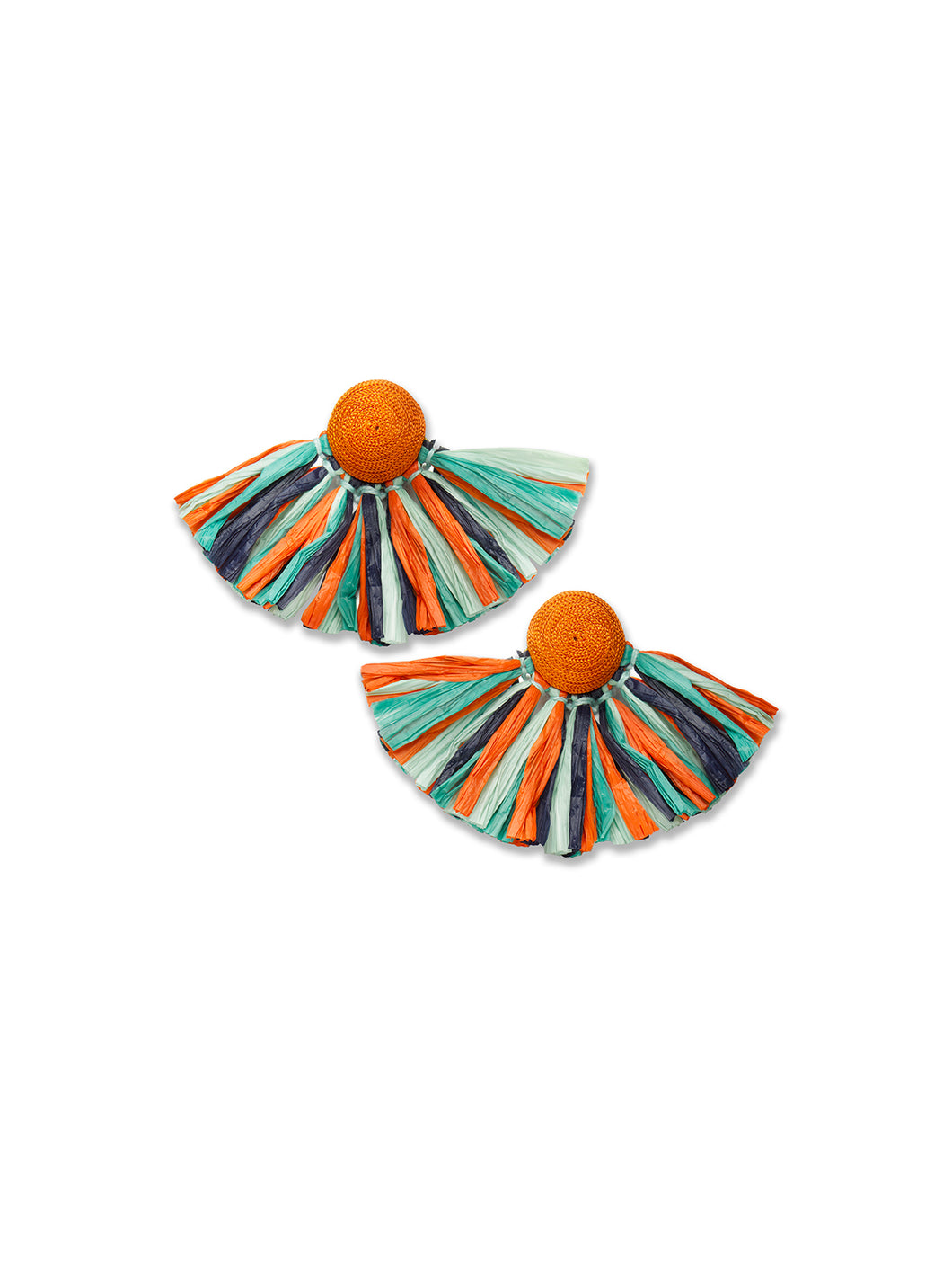 Stripe Raffia Sunburst Earrings