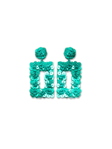 Teal Sequin Rectangle Earrings