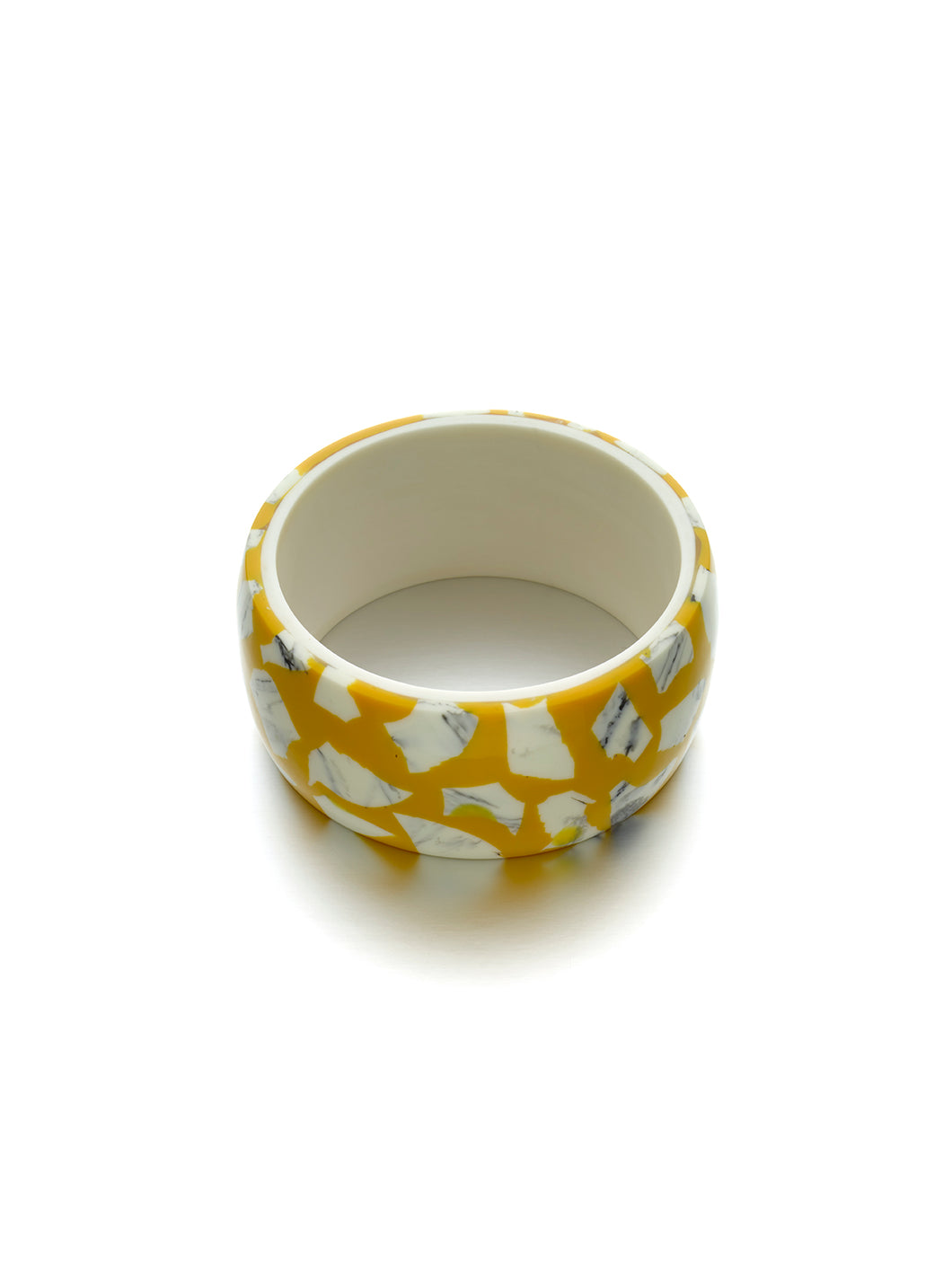 Mustard & White Marble Terrazo Bangle