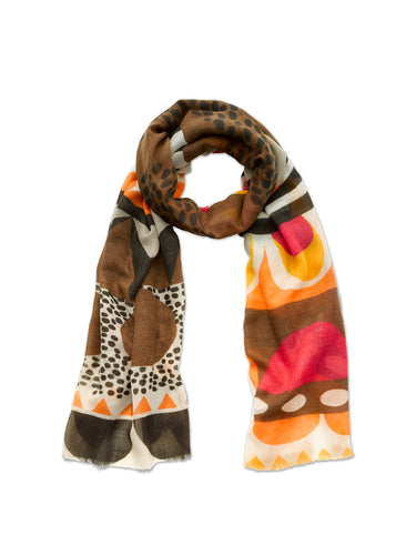 Bold Chocolate Scandi Print Scarf