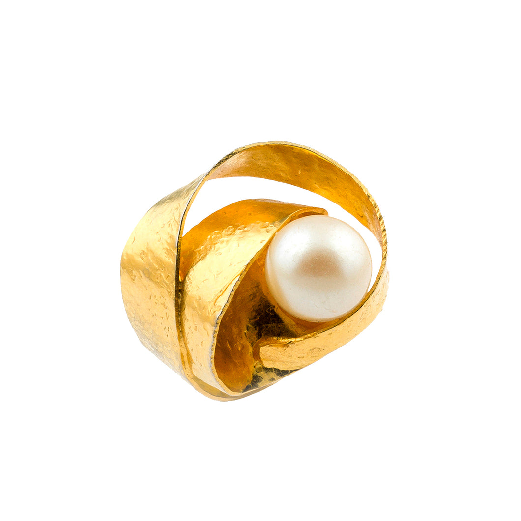 Faux Pearl Wrap Ring