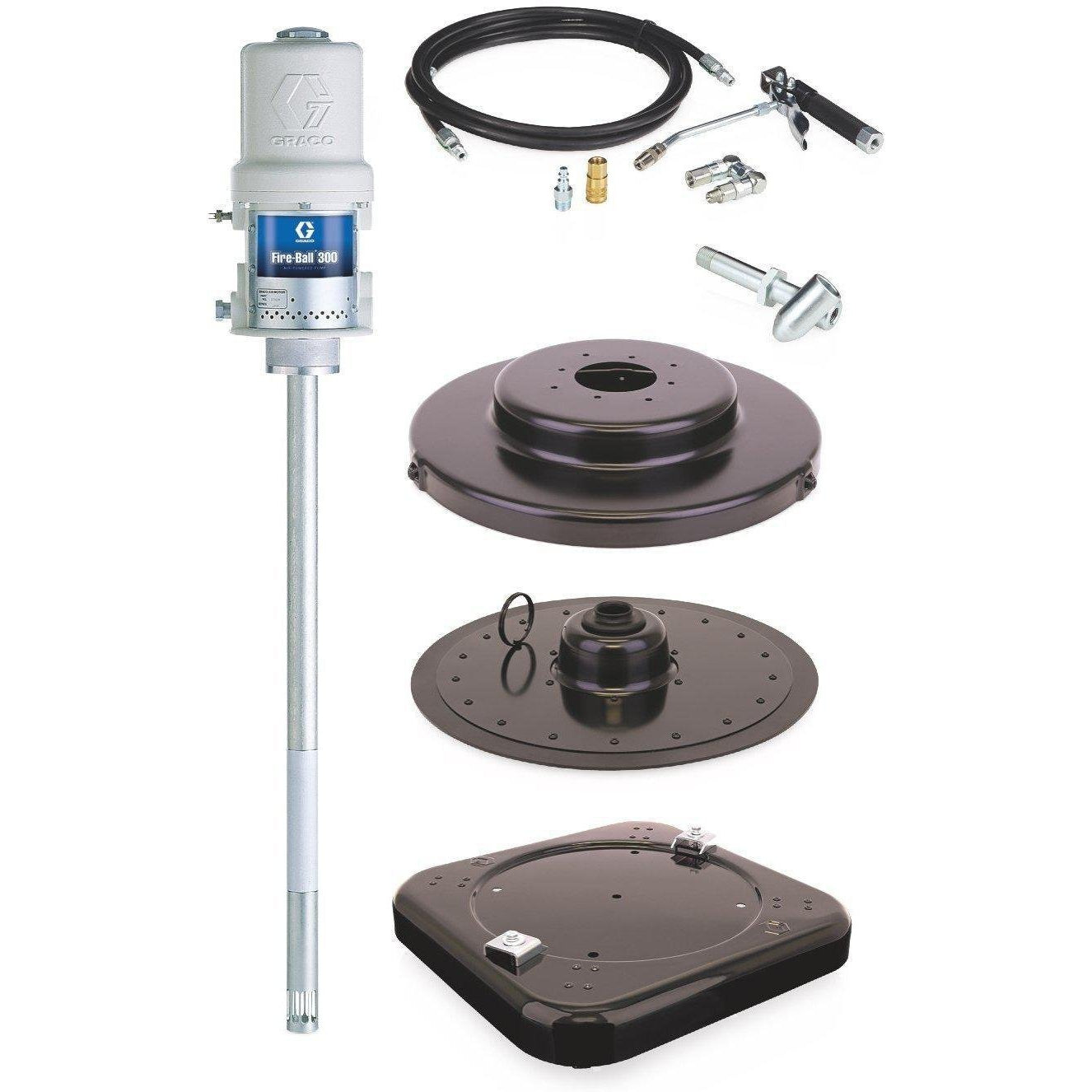 Graco 225006 Fireball 300 Series 50:1 120 Lb. Grease Pump Portable Package With Caster Base - Fireball Equipment Ltd.