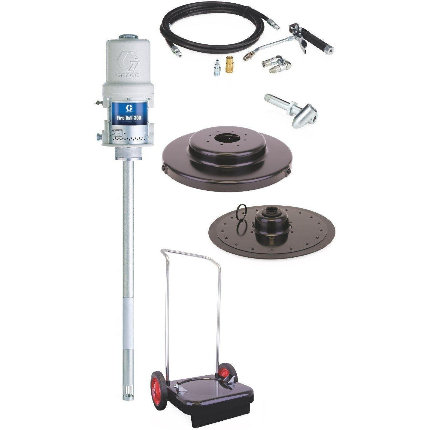 Graco 225026 Fireball 300 Series 50:1 120 Lb. Grease Pump - Portable 2-Wheel Cart Package - Fireball Equipment Ltd.