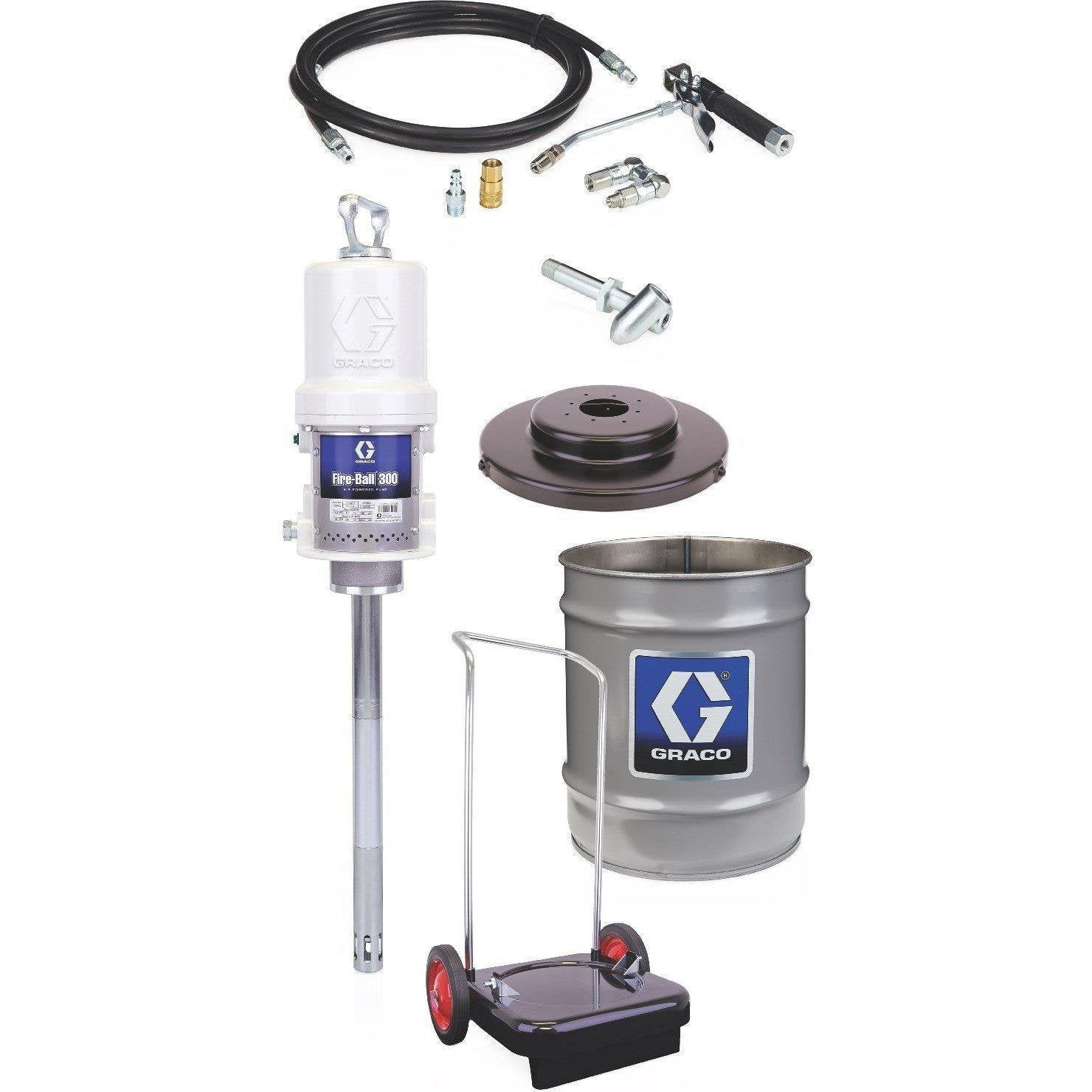 Graco 225773 Fireball 300 Series 50:1 25 To 50 Lb. Grease Pump - Portable Pail Dispenser Package - Fireball Equipment Ltd.