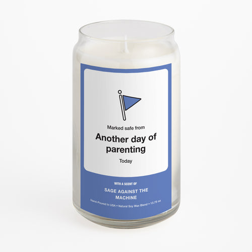 Marked Safe From Another Day of Parenting candle