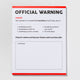 Official Warning notepad