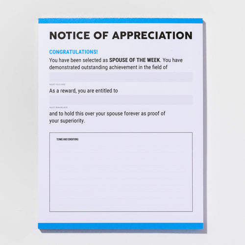 Notice of Appreciation notepad