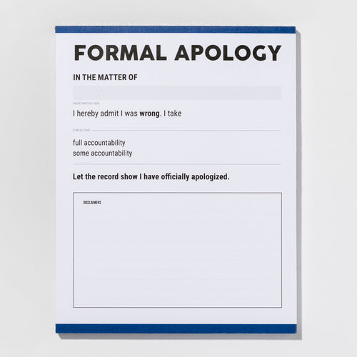 Formal Apology notepad