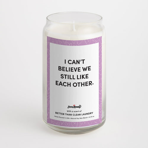 I Can't Believe We Still Like Each Other candle