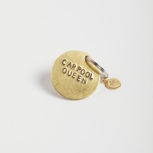 Carpool Queen handstamped keychain