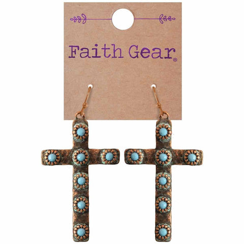 Copper Crosses Women's Earrings