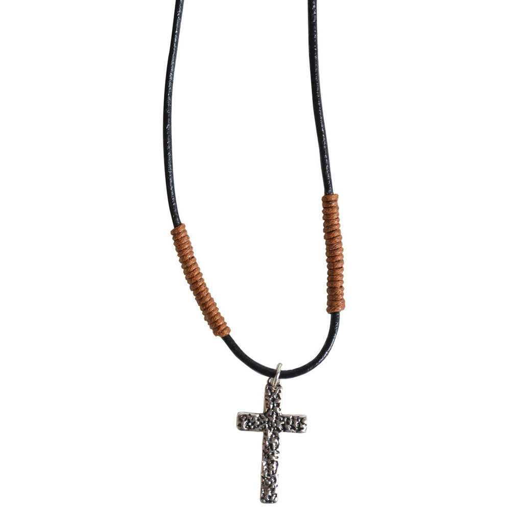 Faith Gear® Guy's Necklace - Hammered Cross