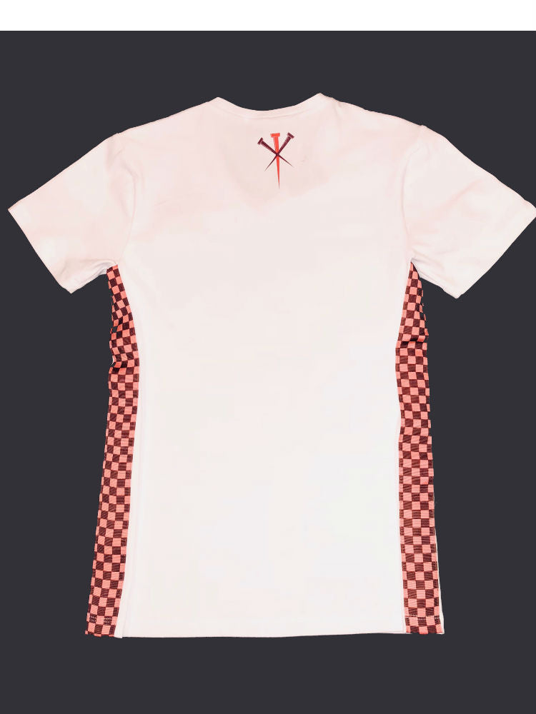 Back view of white T-shirt with checkered side accents.