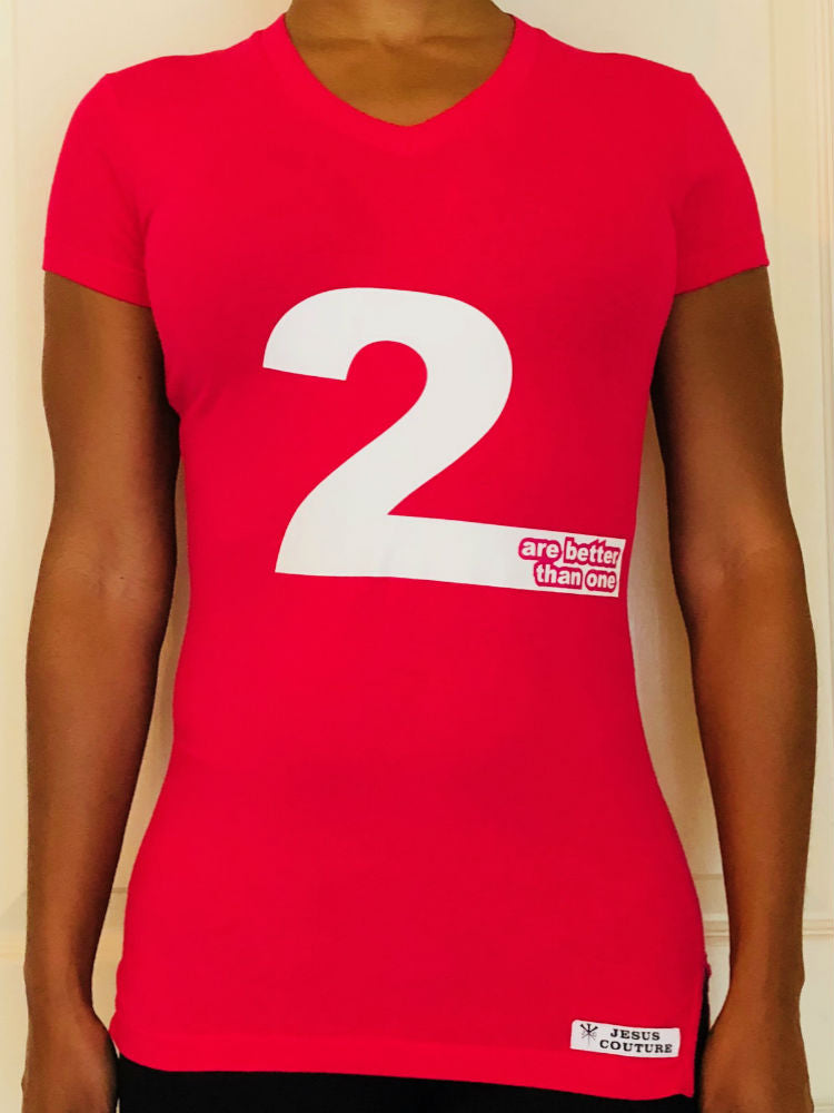 2 are better that 1 Red short-sleeved T-shirt, front.