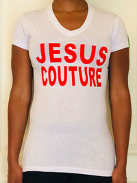 White t-shirt with the words JESUS COUTURE on the front in big red letters.