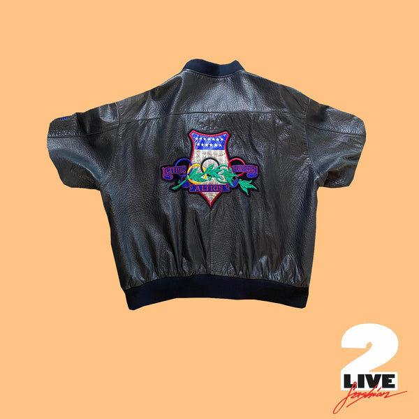 ADIDAS -90s LEATHER JACKET (OLYMPIA LOS ANGELES 932)