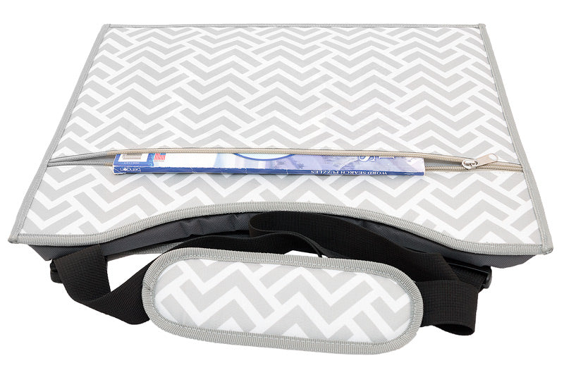 Kids car travel tray large zipper pocket chevron grey white