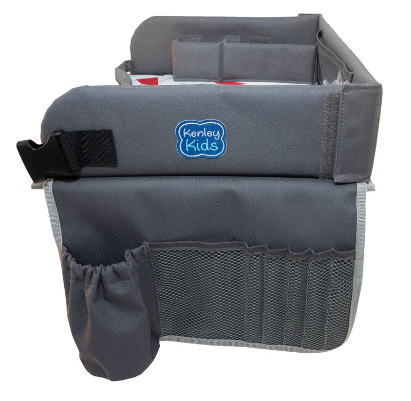 toddler travel lap tray storage pockets drink holder