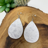 White Marble Leather Teardrop