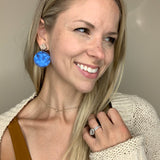 Blue Tie-Dye Round & Wood Diamond Stud Leather Earrings