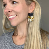 Black and Mustard Acrylic Fleck Half Circle Earrings
