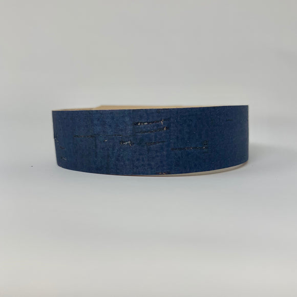 Navy Cork Leather Skinny Cuff