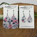 Pink & Navy on Gray Floral Leather Teardrop