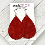 Red Suede Etched Daisy Teardrop