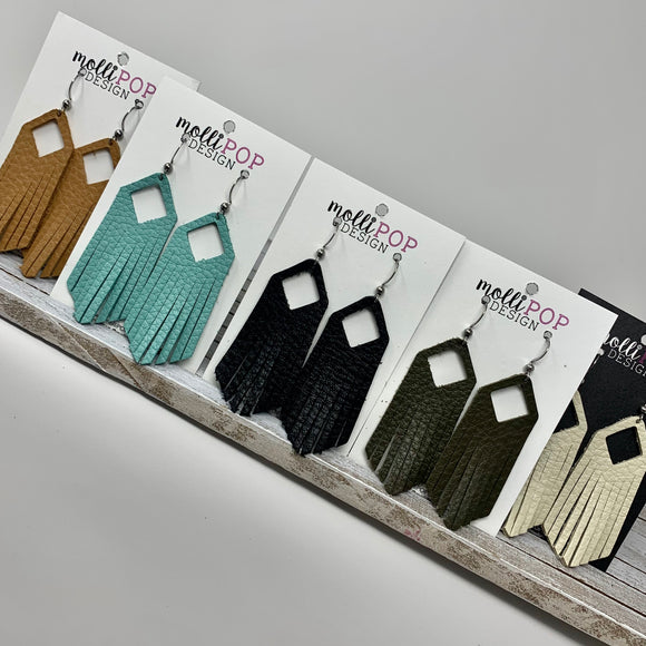 Square Fringe Leather Earrings