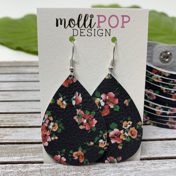Black with Pink and Orange Flowers Leather Teardrop