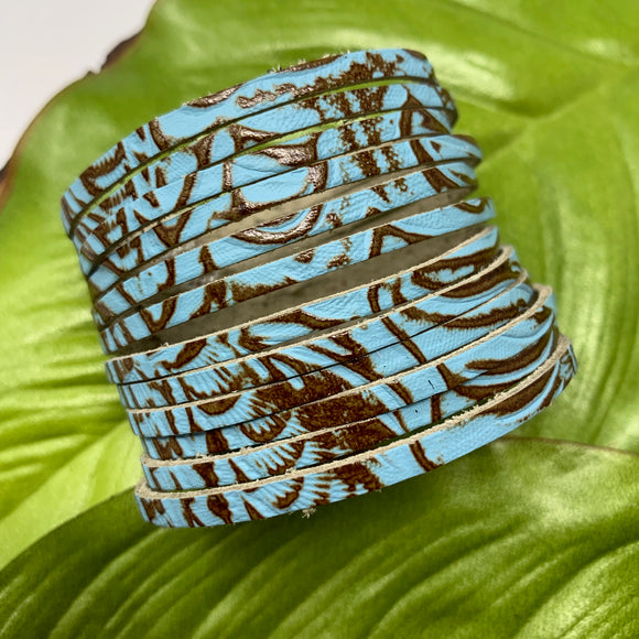 Texas Rose Turquoise and Brown Embossed Leather Slit Cuff