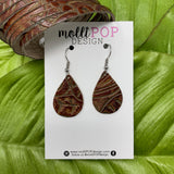 Mini Texas Rose Nutmeg Embossed Leather Teardrop