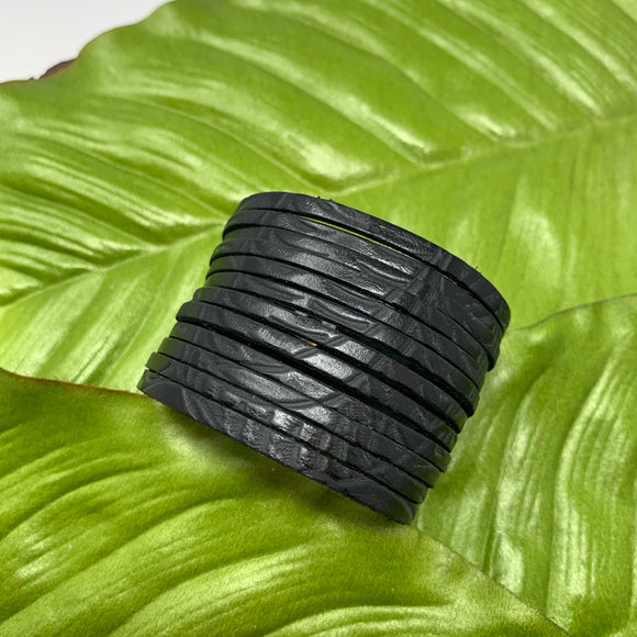 Texas Rose Black Embossed Leather Slit Cuff