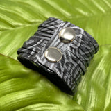 Texas Rose Black and Silver Embossed Leather Slit Cuff
