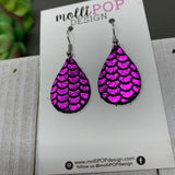 Mini Fuchsia Mermaid Leather Teardrop