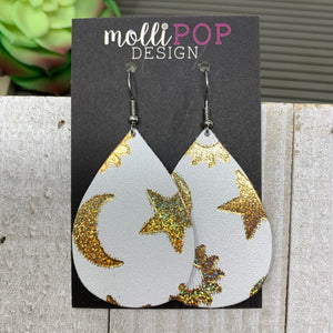Celestial White and Gold Halo Leather Teardrop