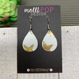 Mini Celestial White and Gold Halo Leather Teardrop