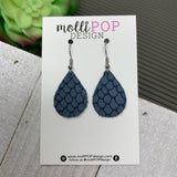 Mini Denim Blue Snakeskin Leather Teardrop