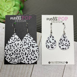 Black and White Leopard Leather Teardrop