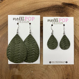 Mini Olive Green Braided Leather Teardrop