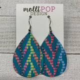 Rainbow Chevron Turquoise Leather Teardrop