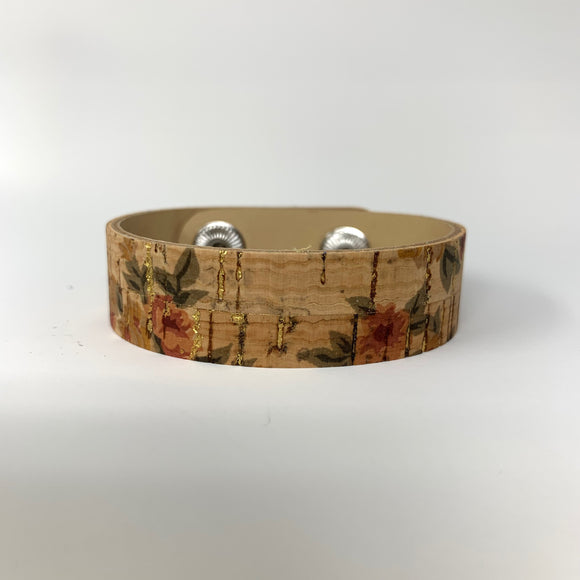 Roses with Gold Cork Skinny Cuff