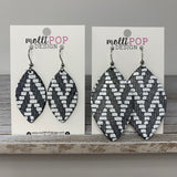 Charcoal and White Chevron Leather Leaf