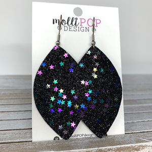 Black Starry Night Glitter Leaf