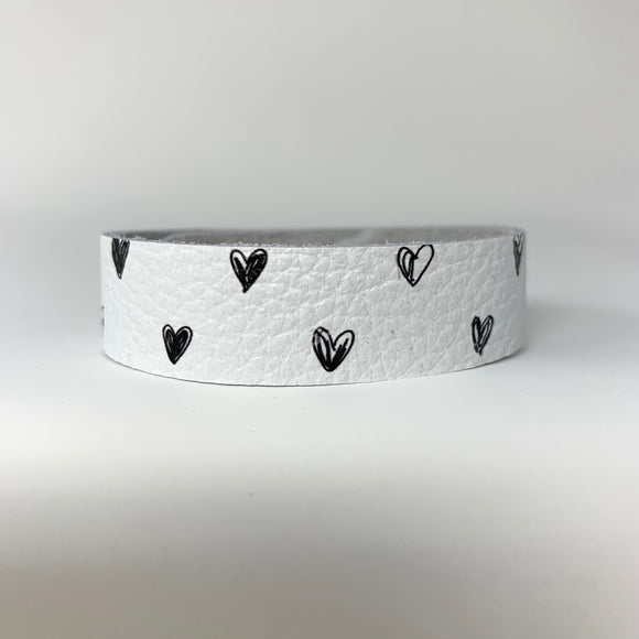 White with Black Line Hearts Skinny Cuff