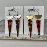 Red Multi Triangle Acrylic and Half Metal Disc Earrings