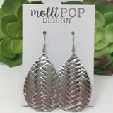 Silver Braided Leather Teardrop